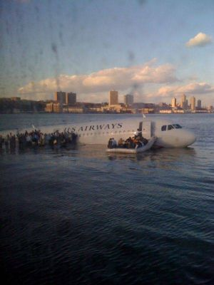 The picture posted by Janis Krums on Twitter of the US Airways flight that crash landed on the Hudson River.