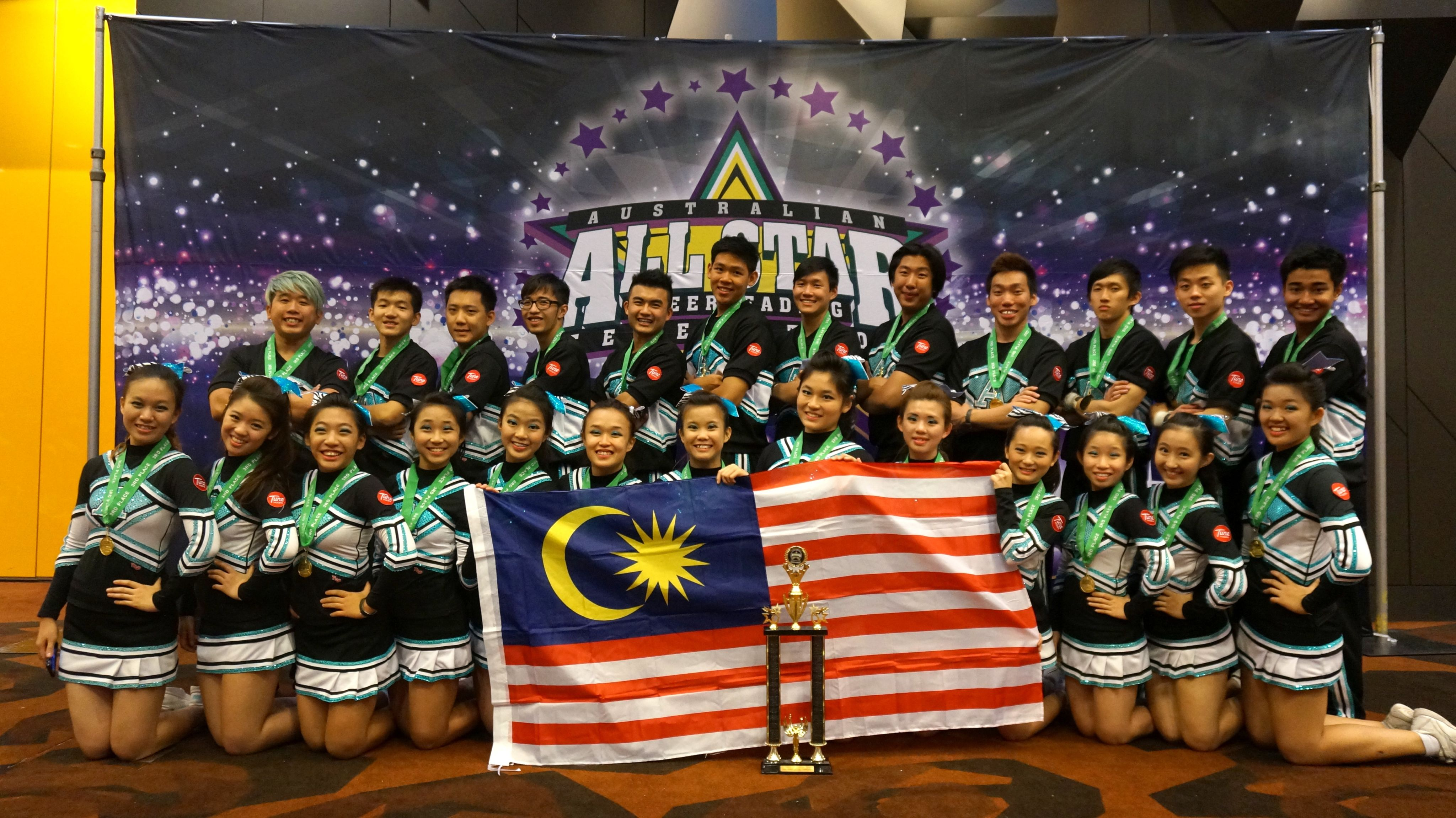 The Awesome All-Stars with their trophy at the Australian All-Stars Cheerleading Federation (AASCF) in Melbourne, Australia.