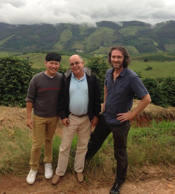 Coffee entrepreneurs Joey Mah (left) and Michael Wilson (right) with one of the coffee farmers they met while hunting for beans in Minas Gerais, Brazil.