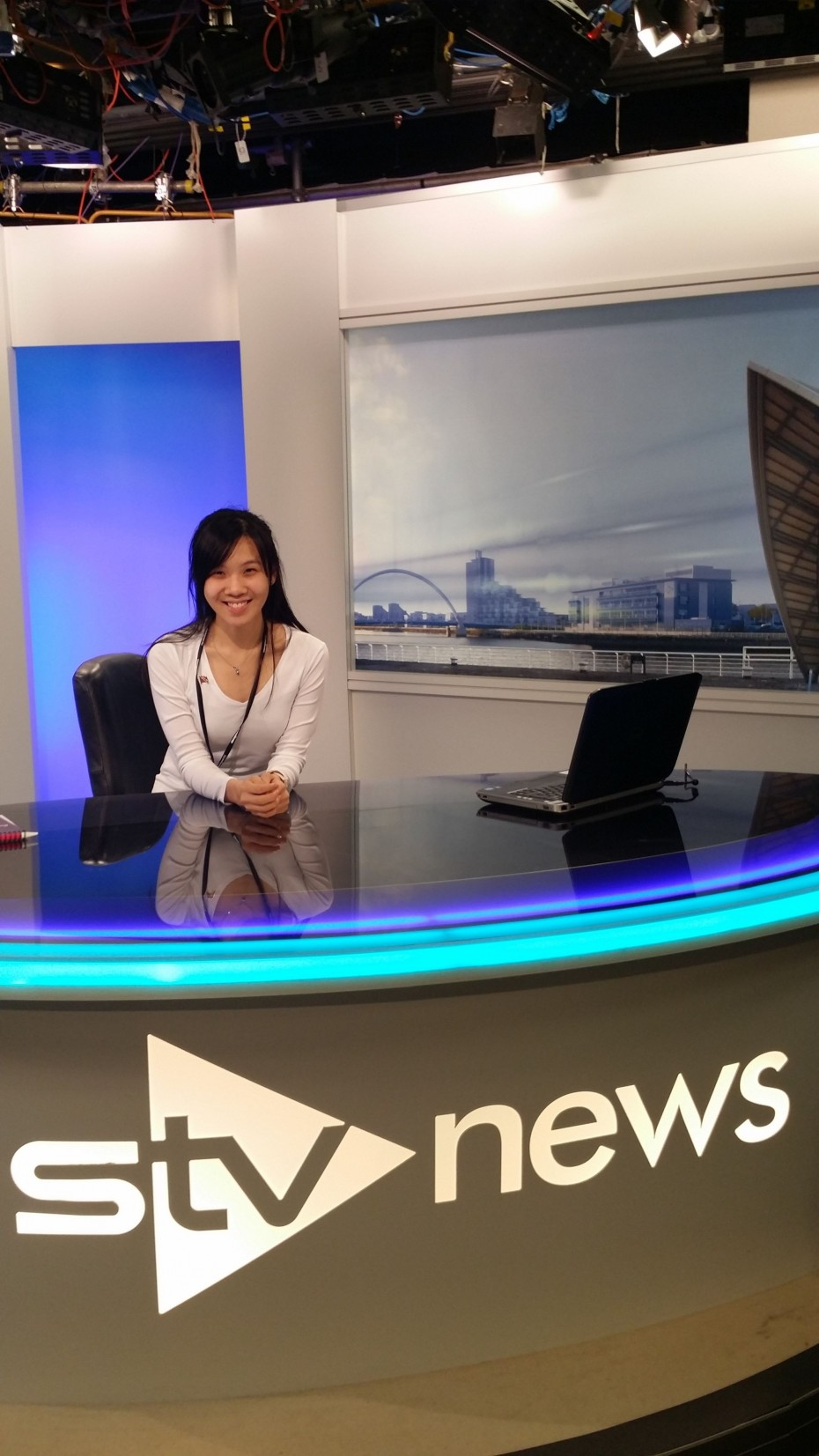 A BRATs exclusive: BRATs journalist Carissa Tan was sent to Glasgow, Scotland earlier this year for the Aye! Write Future News conference. She is pictured here trying her hand at news reading at the STV News studio.