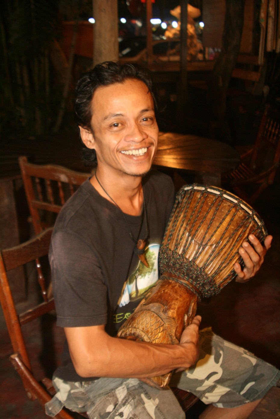 Syahril Azwan Salleh plays the djembe (pictured) with Cubit-Cubit Rindu whenever he has time to spare.