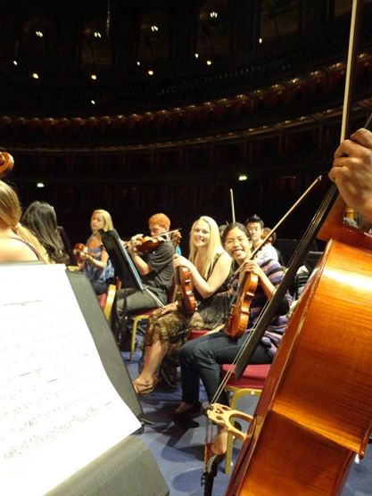 Rehearsing at the Royal Albert Hall in London.