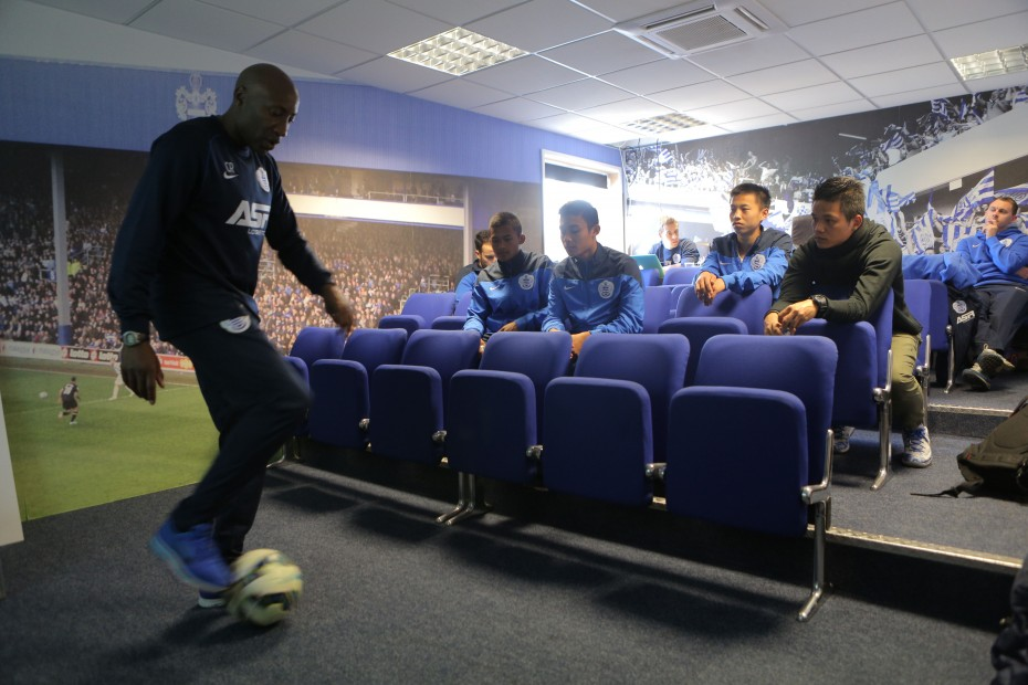 QPR manager Chris Ramsey surprised the boys at one of their training analysis to demonstrate some moves as well as to coach them. Photo: AirAsia