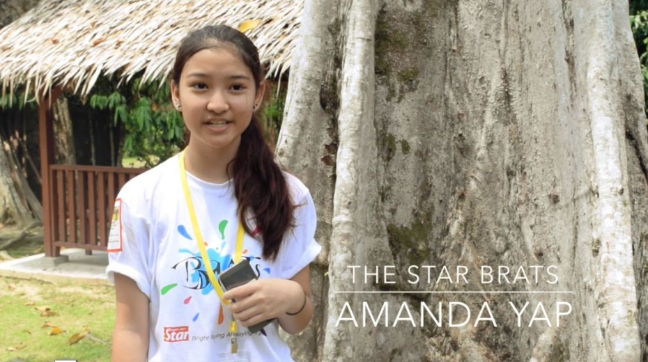 Amanda Yap, one of the participants of BRATs Raub, doing the stand-upper for #TeamIan's video.