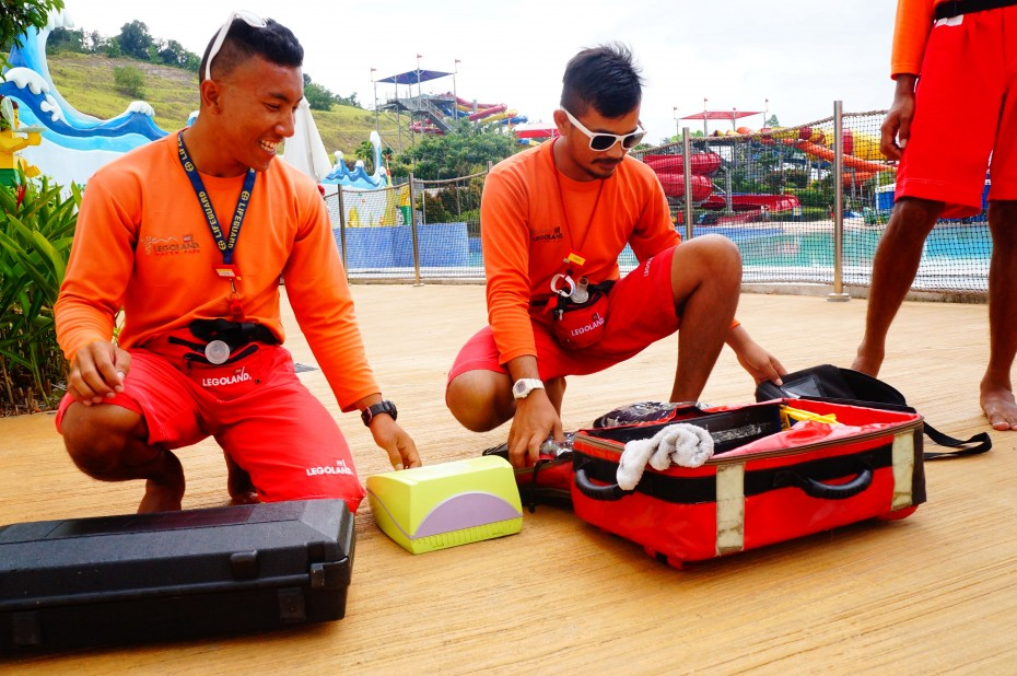 The lifeguards at Legoland Water Park, Johor are trained to use emergency 'crash bags' that are placed in every section in the park.