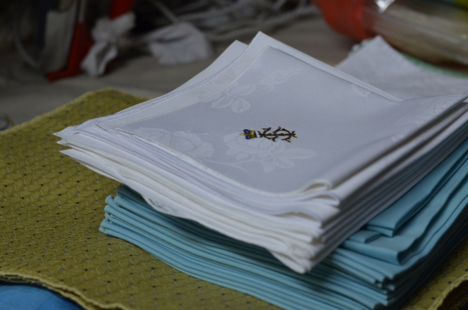 Napkins bearing the Sultan of Johor's emblem, after being hand-washed and ironed at Kedai Dobi Shanghai.