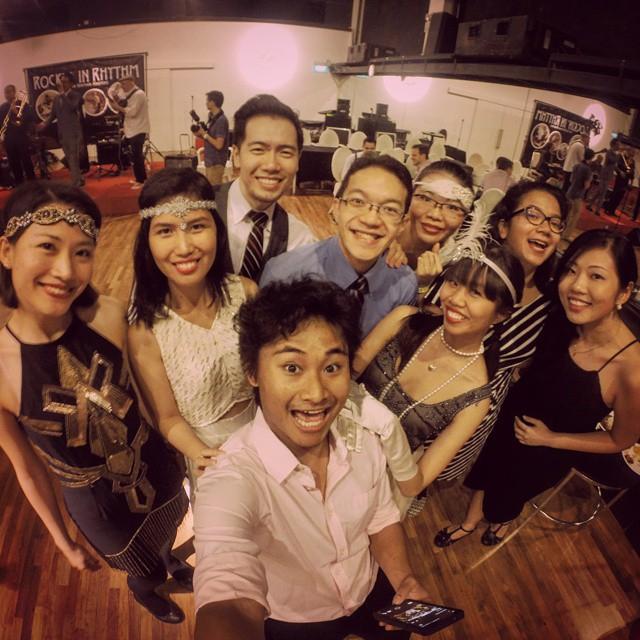 "Min (front) with other members of LindyKL at the Rockin' in Rhythm workshop in Singapore in June this year. They usually dress up in ""vintage"" attire for bigger events like these, but you can come to the weekly socials in regular workout outfits."