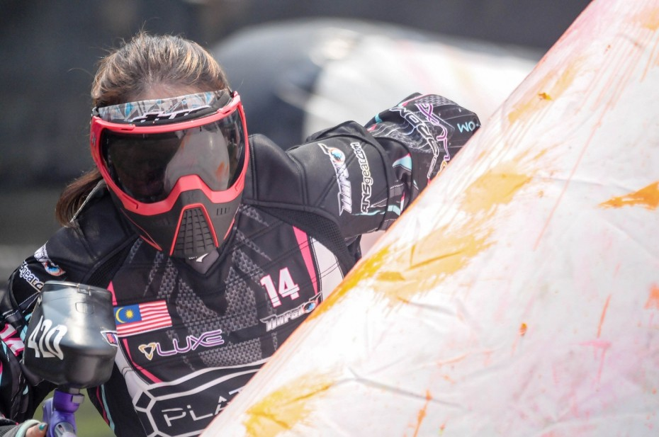 Hanna-Rose Abdul Jalil in action at the Paintball Asia League Series in Bangkok last March. ― Zul Photography