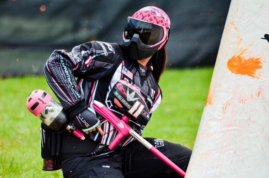 Azrin Ishak from team Platinum Paintball remains calm and collected during this tournament match. -- King Ang Images