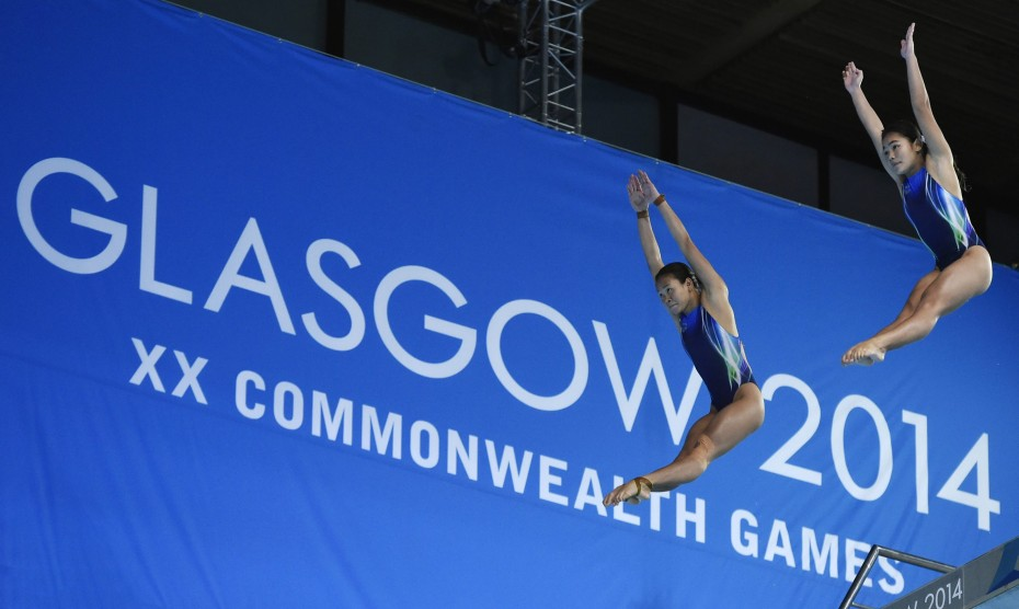 Pandelela Rinong and Nur Dhabitah compete in the Women's Synchronised 10m Platform Diving at Royal Commonwealth Pool in Edinburgh during the Glasgow 2014 Commonwealth Games. GLENN GUAN/The Star