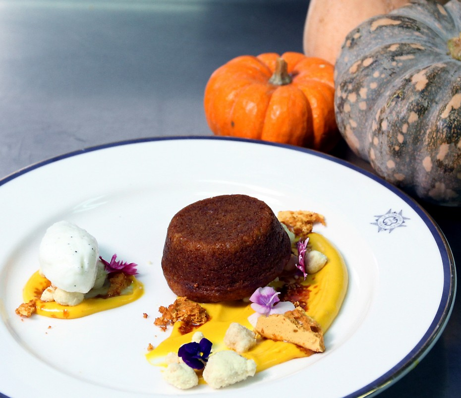 Kuek's pumpkin loaf with pumpkin ganache and sorbet is a pretty sight for the eyes.