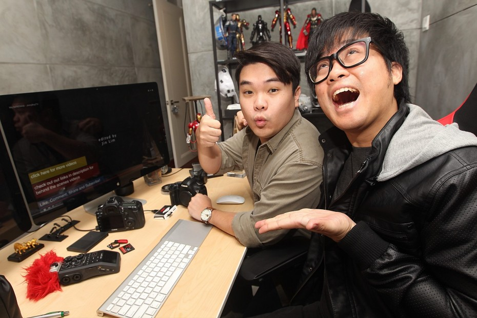 Reuben Kang and Jin Lim from JinnyBoyTV in their natural habitat. The guys still get a kick outta watching My Generasi, the short film that launched them into YouTuber stardom.