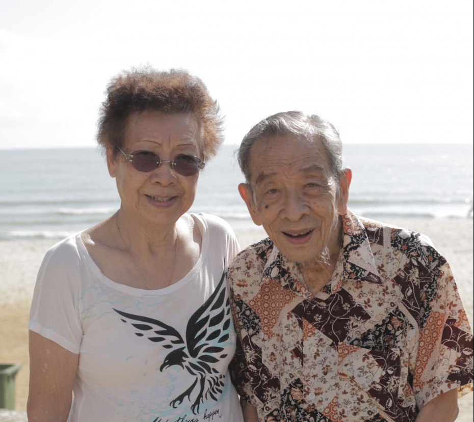 Etheline and her husband at Teluk Cempedak in Kuantan, where she tells us the Japanese had buried bodies of traitors.