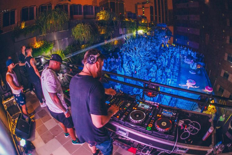 Rudimental playing a DJ set for the Urbanscape's Hotel Takeover
