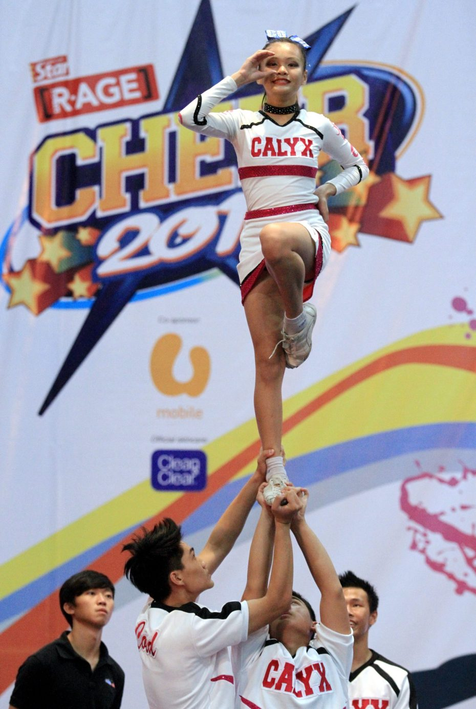 The teams at CHEER 2015 worked incredibly hard to perform stunts like this one by Calyx Co-Ed. Many of them trained all year long in preparation for the CHEER Finals.