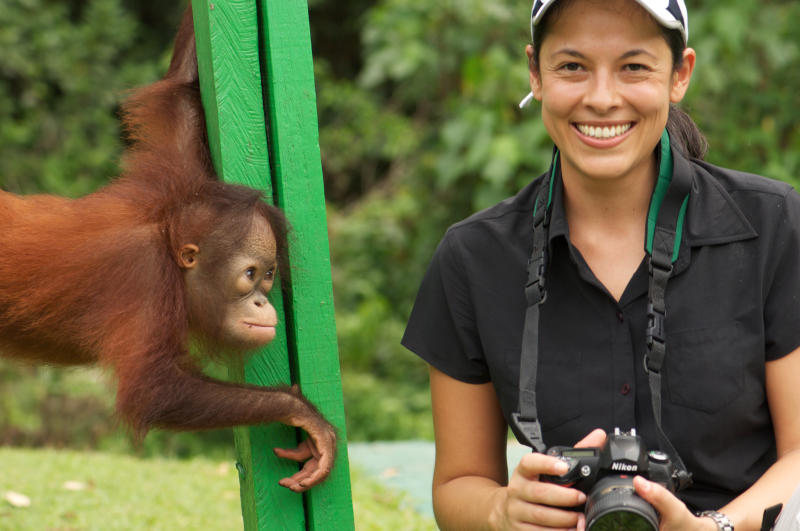 Teoh during the filming of 'Great Apes with Michelle Yeoh', filmed at Sepilok Rehabilitation Centre, Sabah. Photo: Lina Teoh.