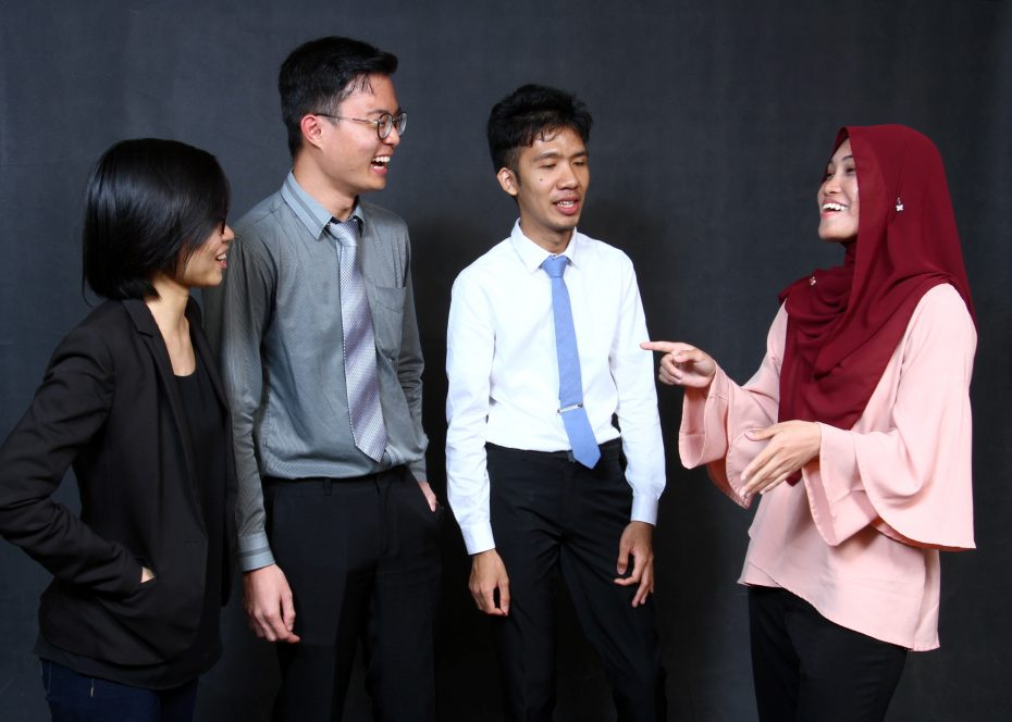 Chuah Hui Yin, Lee Chang Boong, Muadzzam Abdullah and Nurul Azwa, Perdana Fellows and co-organisors of the Youth Economic Forum 2016. Photo: RAYMOND OOI/The Star