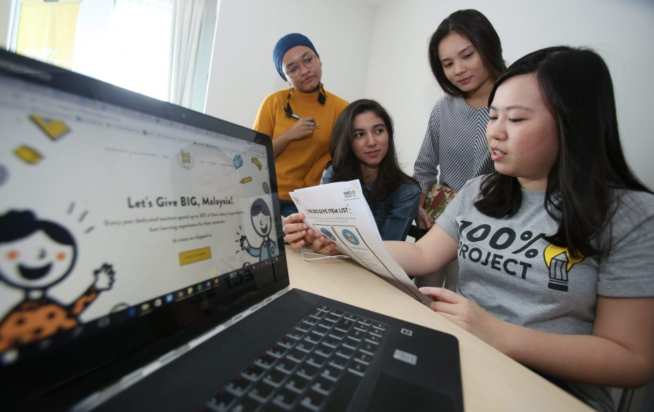 (From left) Miza Qadir, Aishah Parkes, Natalie Loo and Tan are enterprising young women who make up part of the team running 100% Project. — Izzrafiq Alias/The Star