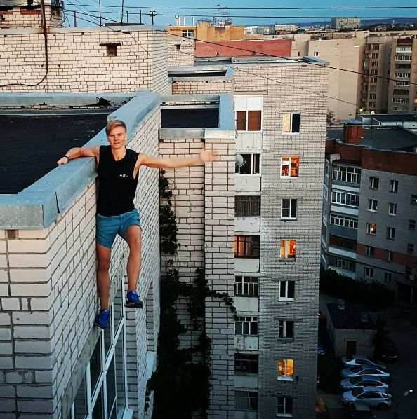 In a photo-op gone wrong, Russian rooftopper Andrey Retrovsky (seen here in a picture from his Instagram account) fell nine stories to his death in late 2015.