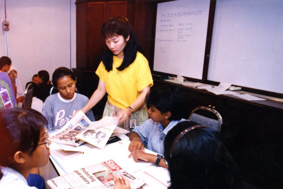 A file picture showing Tan (in yellow) who started BRATs because she believed teens needed to be given a stronger voice. - Filepic